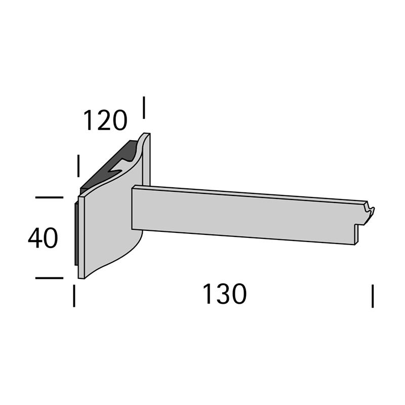 LUXE WANDSTEUN 13CM WIT-ALU-ZWART-ANTRACIET voor Interstil railroede 30mm en W3.1