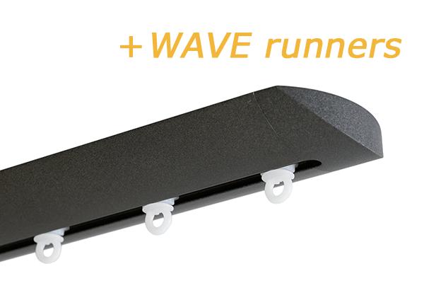 INTERSTIL RAILROEDE W6.1 ANTRACIET met plafondsteun en Wave runners