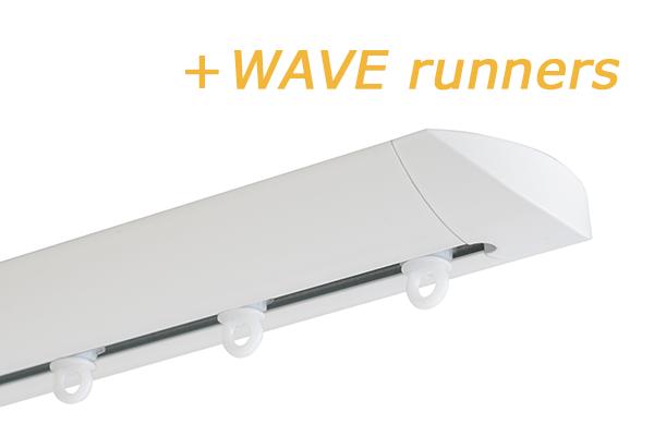 INTERSTIL RAILROEDE W6.1 WIT met plafondsteun en Wave runners