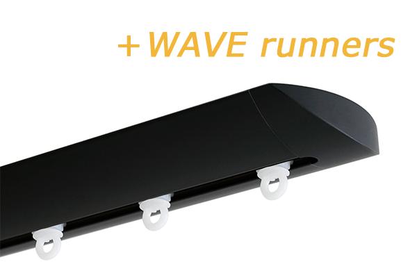 INTERSTIL RAILROEDE W6.1 ZWART met plafondsteun en Wave runners