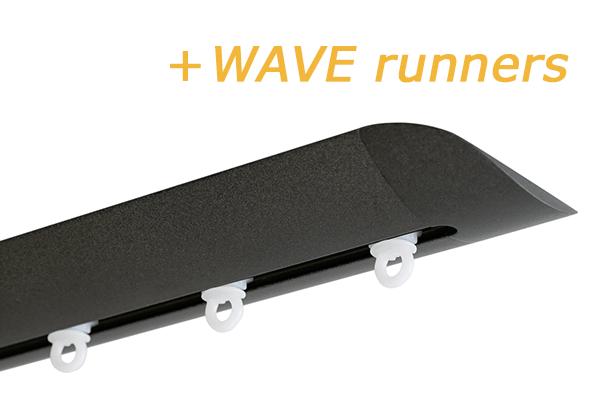 INTERSTIL RAILROEDE W6.2 ANTRACIET met plafondsteun en Wave runners