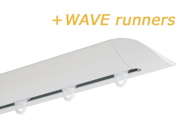 INTERSTIL RAILROEDE W6.2 WIT met plafondsteun en Wave runners