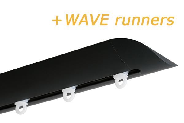 INTERSTIL RAILROEDE W6.2 ZWART met plafondsteun en Wave runners