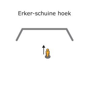 ERKER + SCHUINE HOEK in rail gebogen