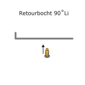 RETOURBOCHT 90° LINKS in railroede gebogen