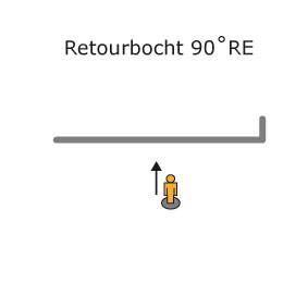 RETOURBOCHT 90°RECHTS in gordijnrail gebogen