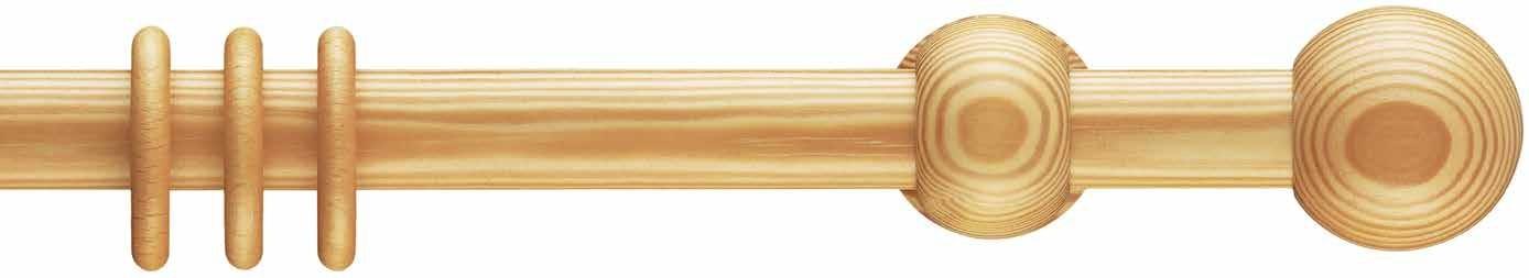 Interstil Gordijnroede Hout Capri Echt Grenen 28mm - zonder ringen