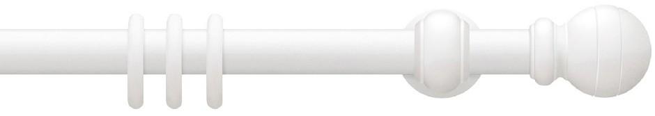 Gordijnroede Hout Davos Wit 30mm met 17cm steunen - zonder ringen