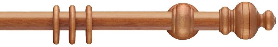 Gordijnroede Hout Delft Kersen 30mm met 17cm steunen - zonder ringen