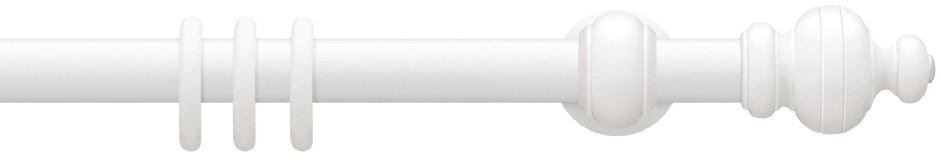 Gordijnroede Hout Delft Wit 30mm met 17cm steunen - zonder ringen