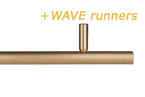 RAILROEDE CORPUS-WAVE 25MM MESSING MAT INTERSTIL met 5cm plafondsteun