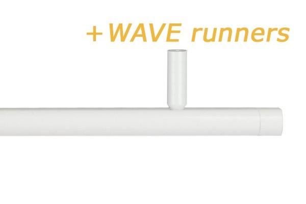 RAILROEDE CORPUS-WAVE 25MM WIT INTERSTIL met 5cm plafondsteun