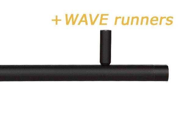 RAILROEDE CORPUS -W 25MM ZWART INTERSTIL met 5cm plafondsteun