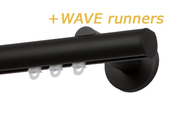 RAILROEDE MODUS-W CLASSIC 25MM ZWART INTERSTIL met 18cm wandsteunen