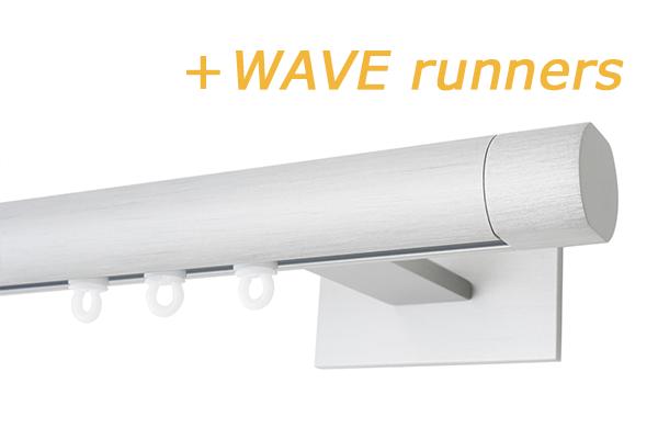 RAILROEDE SINUS.1-W LUXE 25MM WIT INTERSTIL met 18cm wandsteunen