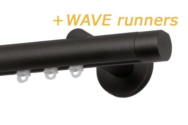 RAILROEDE SINUS.3-W ROND 25MM ANTRACIET INTERSTIL met 8cm wandsteunen