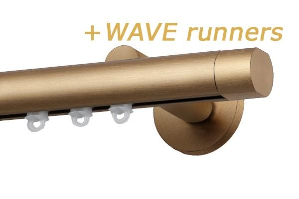 RAILROEDE SINUS.3-W ROND 25MM MESSING MAT INTERSTIL met 13cm wandsteunen
