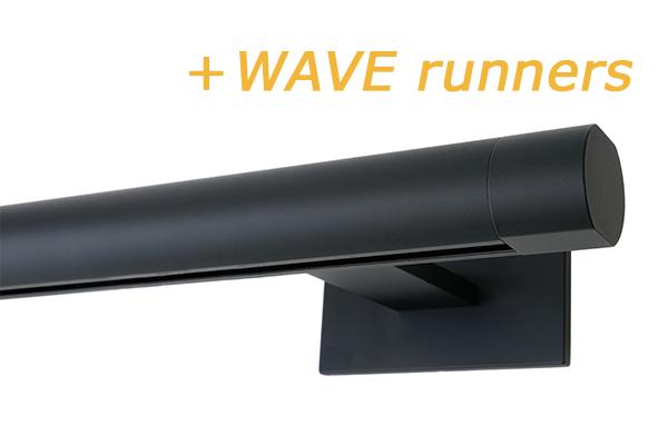 RAILROEDE SINUS.1-W LUXE 25MM ZWART INTERSTIL met 18cm wandsteunen
