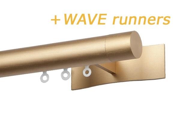 RAILROEDE W3.1 SYMPATHIE LUXE 30MM MESSING MAT INTERSTIL - met 8cm luxe wandsteunen