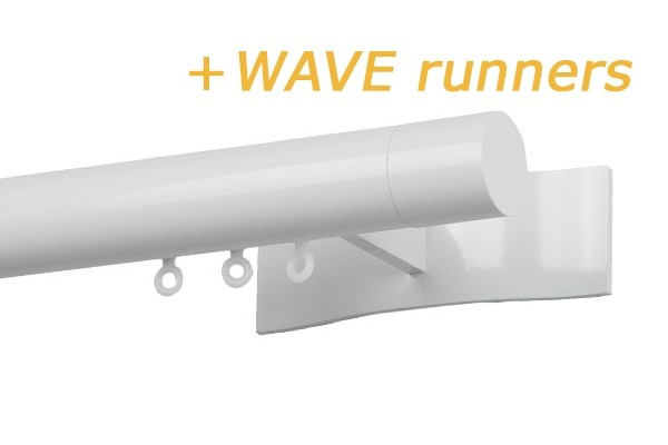 RAILROEDE W3.1 SYMPATHIE LUXE 30MM WIT INTERSTIL - met 13/18cm luxe wandsteunen