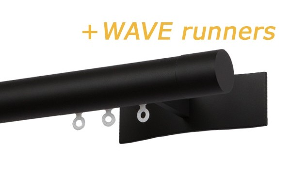 RAILROEDE W3.1 SYMPATHIE LUXE 30MM ZWART INTERSTIL - met 8cm luxe wandsteunen