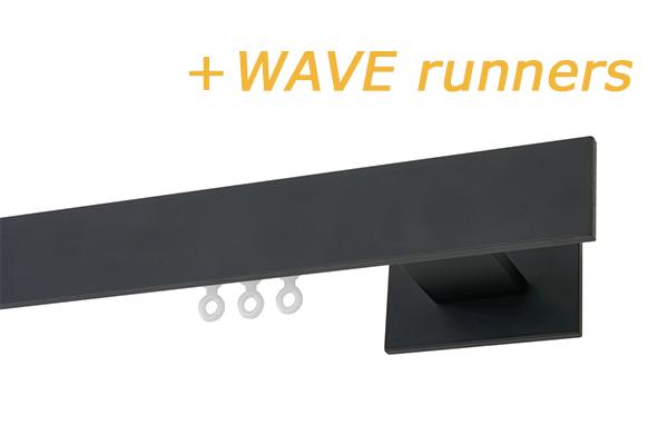 RAILROEDE CODEX-W 35MM ZWART INTERSTIL met 8cm wandsteunen