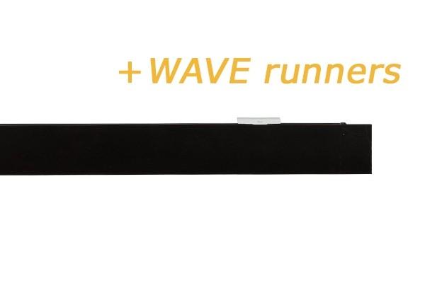 RAILROEDE SPHERE-W 35MM ZWART INTERSTIL - met platte plafondsteun en Wave runners