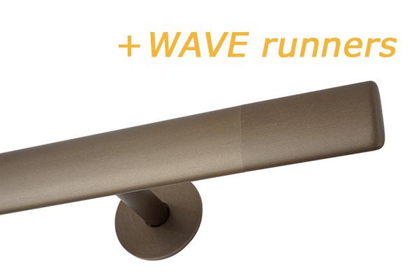 INTERSTIL RAILROEDE TRIM.2 35MM BRONS met 8/13cm ronde wandsteunen