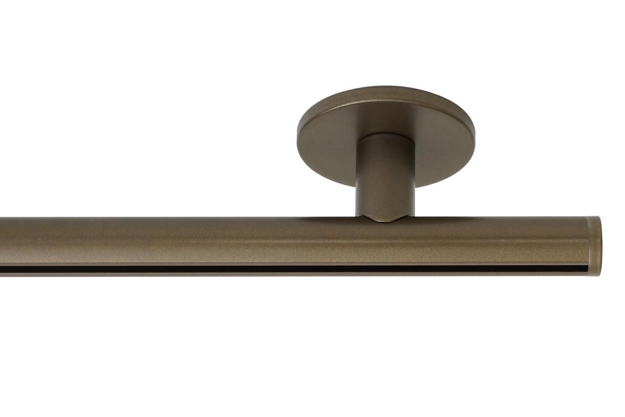 RAILROEDE Roederail MAATWERK XXL Design 22MM - DONKER BRONS - met luxe plafondsteun 3cm en eindknop DISK