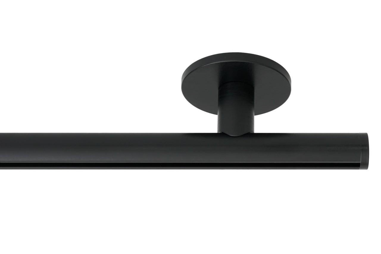 RAILROEDE Roederail MAATWERK XXL Design 22MM - MAT ZWART - met luxe plafondsteun 3cm en eindknop DISK