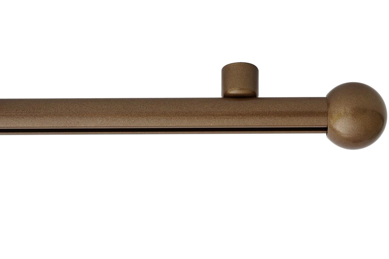 RAILROEDE Roederail MAATWERK XXL Design 22MM - LICHT BRONS - met plafondsteun 2cm en eindknop KLEINE BOL