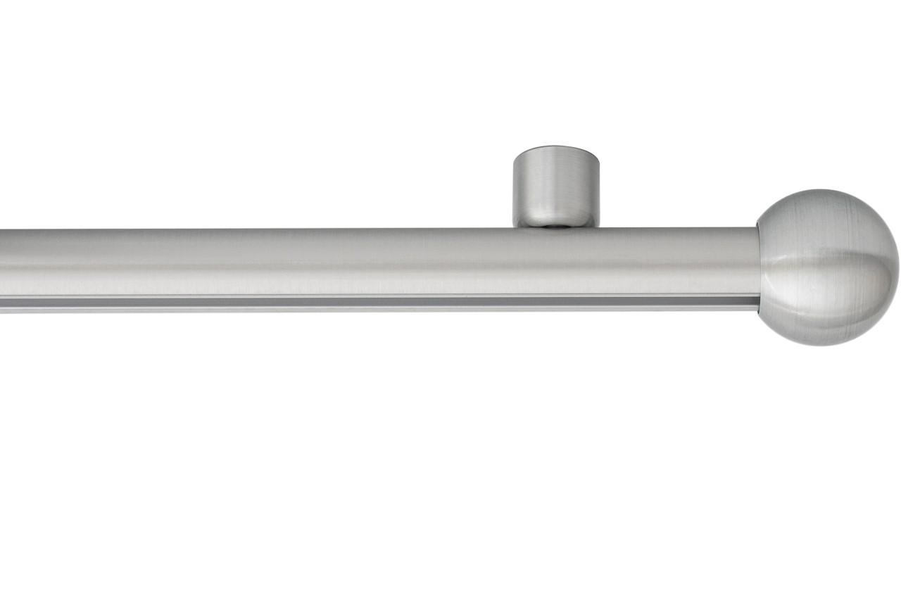 RAILROEDE Roederail MAATWERK XXL Design 22MM - RVS LOOK - met plafondsteun 2cm en eindknop KLEINE BOL