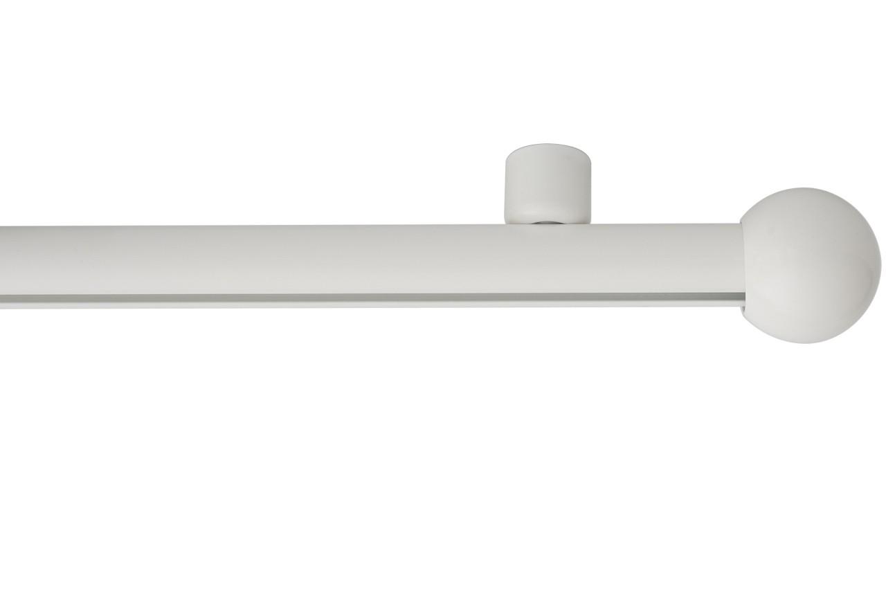 RAILROEDE Roederail MAATWERK XXL Design 22MM - WIT - met plafondsteun 2cm en eindknop KLEINE BOL
