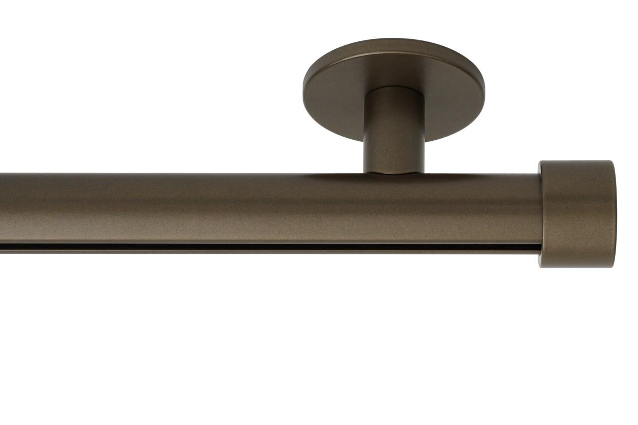 RAILROEDE Roederail MAATWERK XXL Design 28MM - DONKER BRONS - met luxe plafondsteun 3cm en eindknop CAP