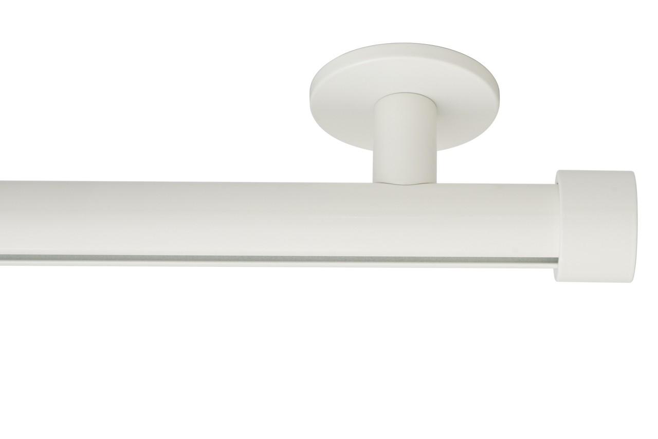 RAILROEDE Roederail MAATWERK XXL Design 28MM - WIT - met luxe plafondsteun 3cm en eindknop CAP