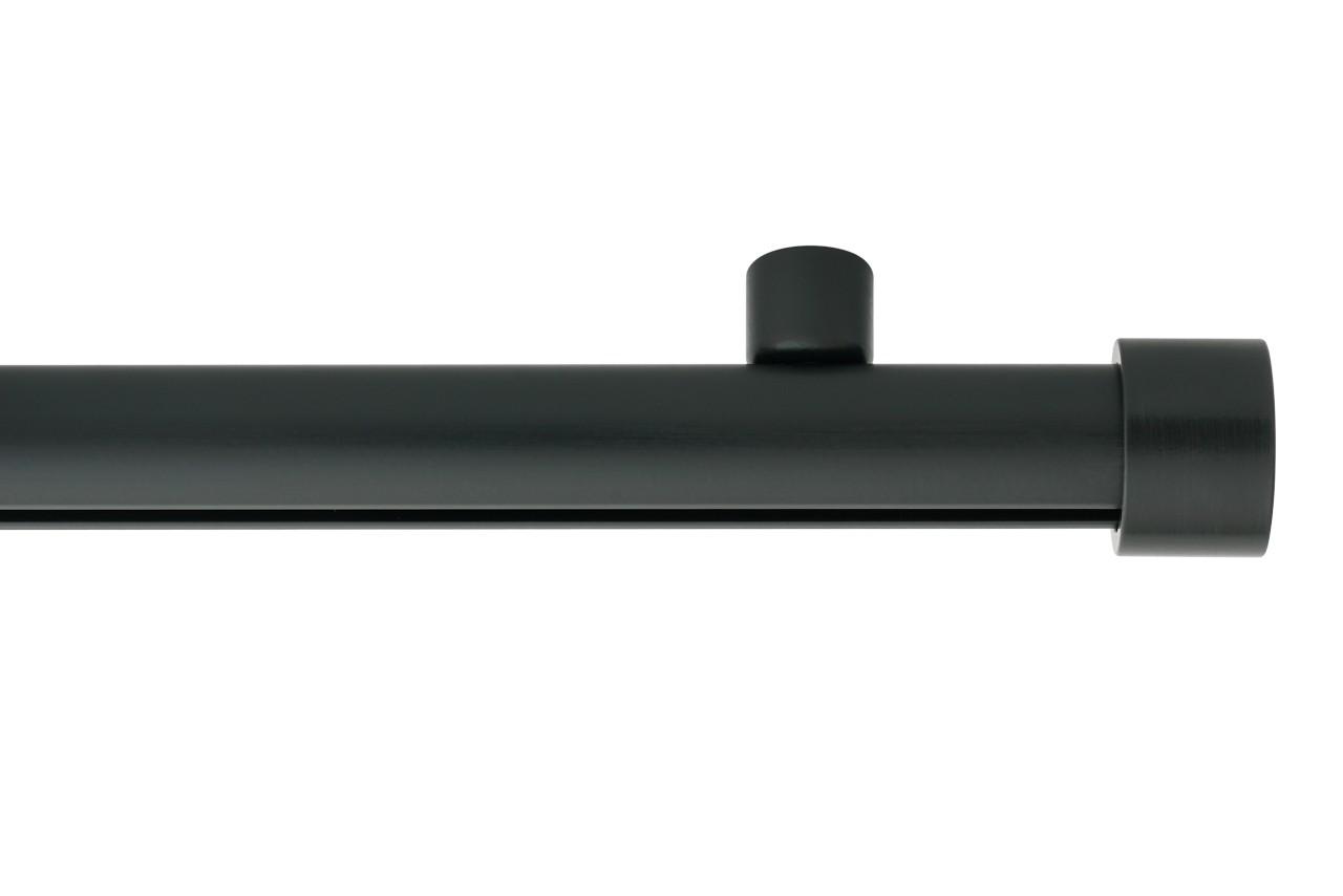 RAILROEDE Roederail MAATWERK XXL Design 28MM - MAT ZWART - met plafondsteun 2cm en eindknop CAP
