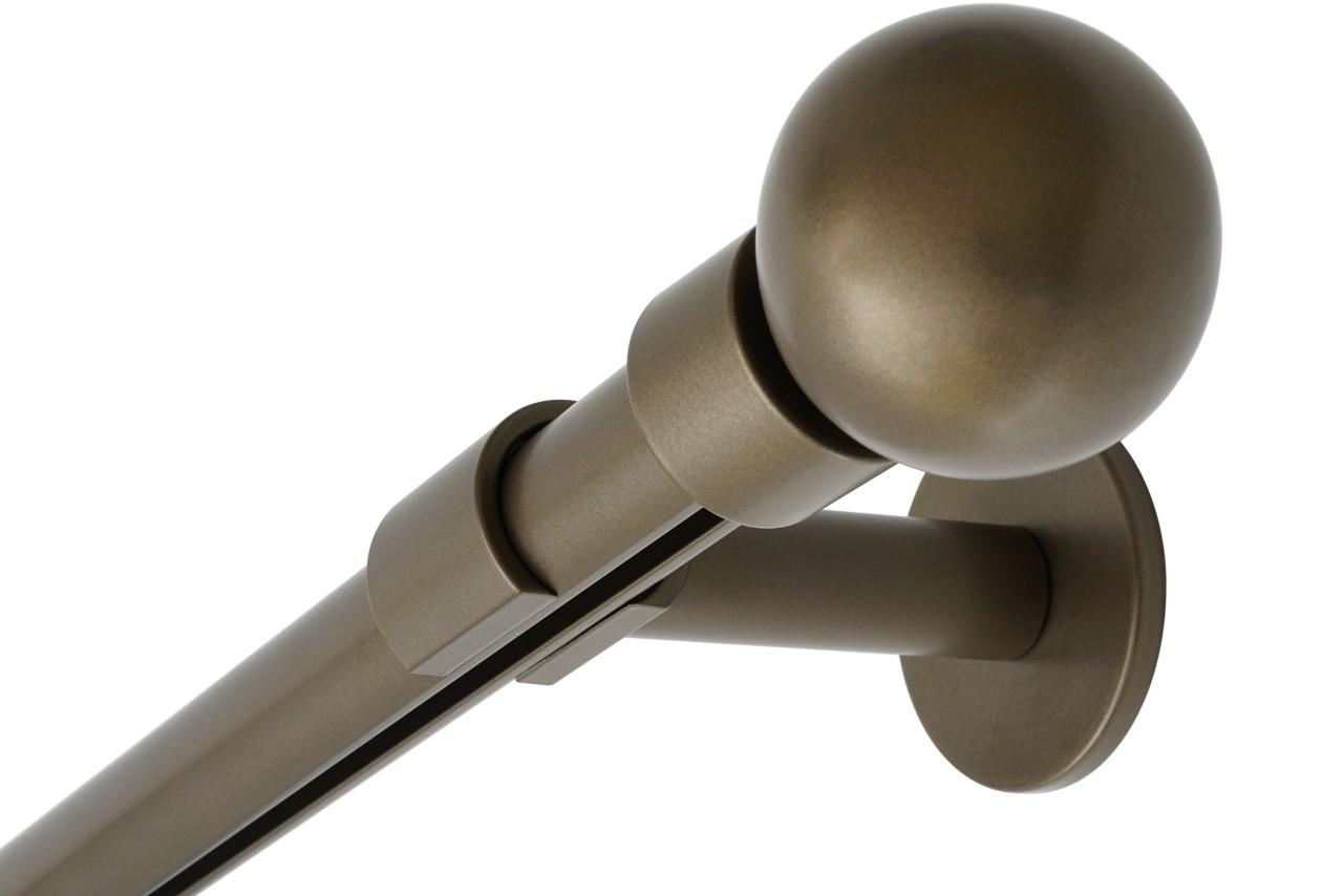RAILROEDE Roederail MAATWERK XXL Design 28MM - DONKER BRONS - met wandsteun 8cm en eindknop GROTE BOL