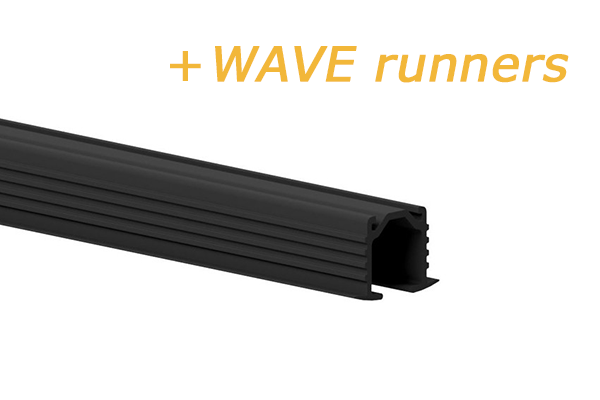 GORDIJNRAILS 216 DECO WAVE STUCRAIL - ZWART