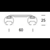 EXTRA DUBBELE PLAFONDSTEUN PLAT voor ROND 25MM