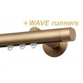 RAILROEDE SINUS.3-W ROND 25MM MESSING MAT INTERSTIL met 18cm wandsteunen