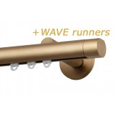 RAILROEDE SINUS-W ROND 25MM MESSING MAT INTERSTIL met 8cm wandsteunen