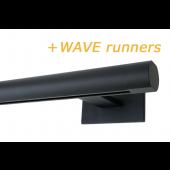 RAILROEDE SINUS.1-W LUXE 25MM ZWART INTERSTIL met 8cm wandsteunen