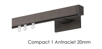 Vierkante Railroede Interstil Compact 1 20mm met 13cm wandsteunen