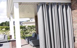 Gordijnroede RVS voor buitengordijnen | RoedesOnline - met tuingordijn Sunbrella met zeilringen